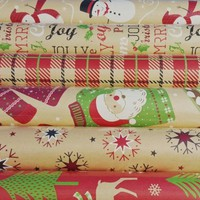 150 sqft Christmas Print Vintage Kraft Wrapping Paper, 6 30 in X 13.33 Ft. Rolls