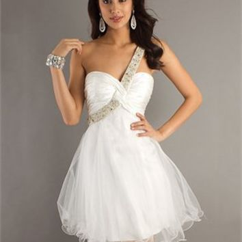 One Shoulder Sweetheart Beaded With Straps White Prom Dress PD1903