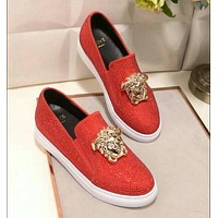 """""""Versace"""" Slip-On Trending Women Men Comfortable Leather Water Drill Flat Sneakers Sport Shoes Red I13143-1"""
