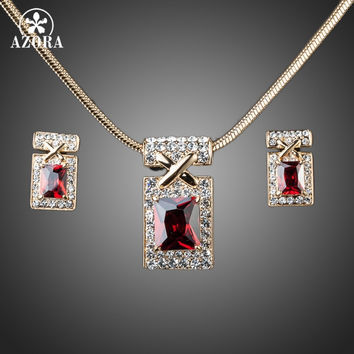 AZORA Gold Plated Unique Design with Dark Red Cubic Zirconia Earrings and Necklace Jewelry Sets TG0027