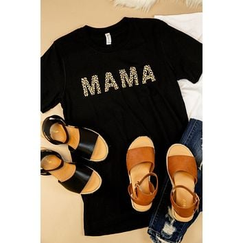 MAMA Leopard Lettering Graphic Tee, Black | Extended Sizes