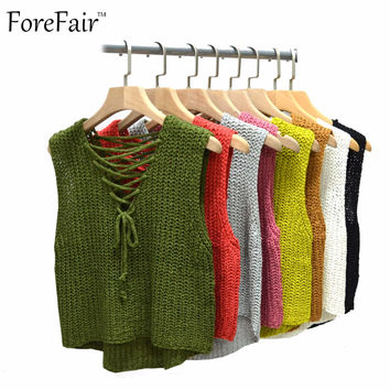 ForeFair new autumn winter irregular lacing vest sweater women all-match v-neck tube causal sweaters coats 9 colors