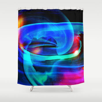 Alien Attack Abstract Shower Curtain by Minx267