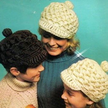 Vintage Aran newsboy hat cap cable winter hat pattern PDF Instant Download crochet HIPPIE hat knitting supplies epsteam hippie toque pdf