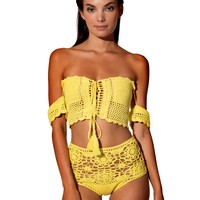 Acapulco Yellow Off Shoulder Crochet Two Piece Swimsuit