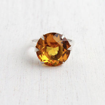 Vintage Sterling Citrine Orange Stone Ring - Retro Size 5 Statement Cocktail Ring Jewelry / Golden Oval