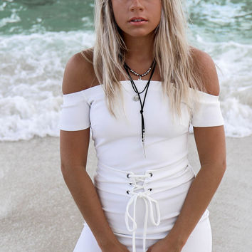 Twisted Away White Off Shoulder Dress