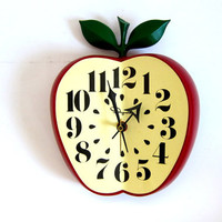 Vintage Ingraham Apple Plug in Electric Wall Clock with Pendulum