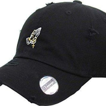 KBSV-061 BLK Praying Hands Vintage Rosary Distressed Dad Hat Baseball Cap Polo Style A
