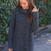 Coming Up Cozy Turtle Neck Sweater - Charcoal