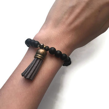 Black Onyx Bracelet With Gray Tassel/Tassel Bracelet/Personalized Bracelet - PeysDesigns