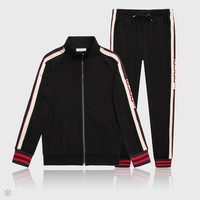 GUCCI 2018 tide brand men's classic LOGO sports and leisure two-piece Black