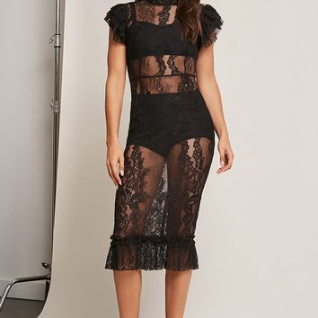 Sheer Lace Ruffle Dress