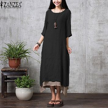 ZANZEA 9 Colors 2017 Spring Autumn Women Casual Loose Vestidos Boho Cotton Linen Long Dress Maxi Shirt Vintage Dress Plus Size