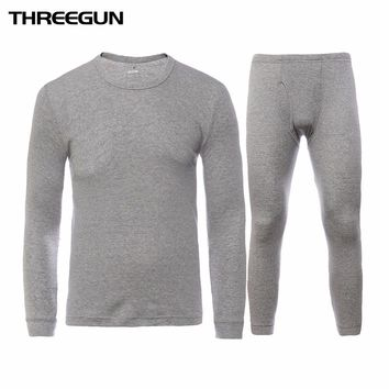 Winter Round Neck Warm Long Johns Set For Men Ultra-Soft Solid Color Thin Thermal Underwear Men's Pajamas