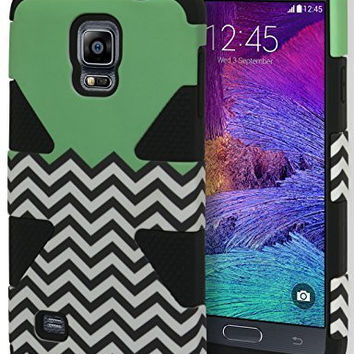Samsung Galaxy Note 4, Hybrid Black Silicone with Teal and Chevron  Case