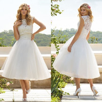 Sexy Women A Line High Collar Tea Length Tulle Appliques Wedding Lace Dress [4905490436]