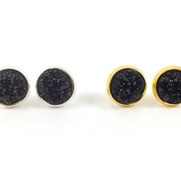 Druzy Earrings, Druzy Studs, Faux Druzy Earrings, Gold, Silver, Black Druzy Earrings, Glitter, Sparkle, Boho, Post Earrings, Holiday