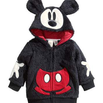 H&M - Hooded Pile Jacket - Black/Mickey Mouse - Kids