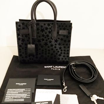 NWT AUTH Yves Saint Laurent YSL Nano Mini Calf Hair Sac De Jour Bag Velvet Stars