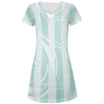 Summer Sacred Geometry Teal Stripes All Over Juniors Beach Cover-Up Dress