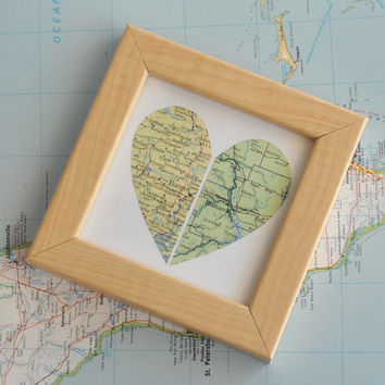 Long Distance Relationship Couple Map Heart Framed