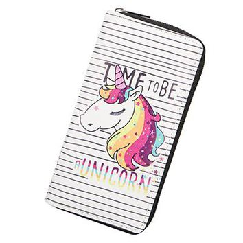 Sansarya 2018 Cartoon Unicorn Print Long Zipper Women Wallet Female Purse Clutch Bag Coin Purse Cute Card Holder Phone Money Bag