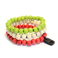 3 Pack Bracelet Set Green/White/Red