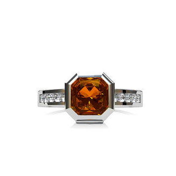 Emerald cut 1.29ct Yellow sapphire engagement ring, diamond ring, unique, yellow sapphire, orange, gold engagement, bezel, solitaire