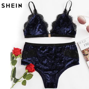 SHEIN Women's Pajamas Set Sleepwear Women Navy Lace Trim Velvet Triangle Bra & Panty Lingerie Set Sexy Pajama Set