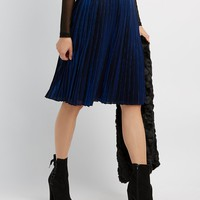 Metallic Pleated Midi Skirt | Charlotte Russe