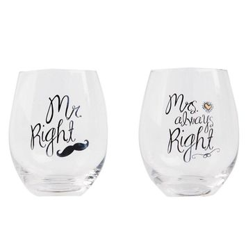 Mr Right and Mrs Always Right Wine Glasses