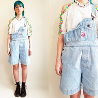 90s Clothing Denim Overalls Vintage 90s Overalls Lifht Wash Overalls Shortalls Short Overalls Loose Fit Overalls 90s Clothing Size Large