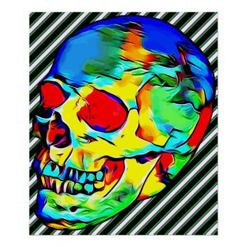 skull abstract colorful day of the dead art poster