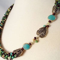 Mixed Picasso Bead Kumihimo Braid Necklace, Turquoise, Deep Red, Cream, Dark Green, Antique Brass Clasp, OOAK