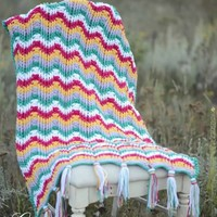 Pattern: Reversible Textured Chevron Afghan