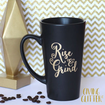 Rise & Grind // Matte Black Coffee Mug