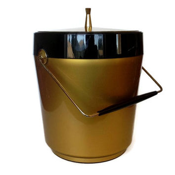 Mid Century Ice Bucket, Gold Black Plastic, Brass Handle, 1960s Home Bar