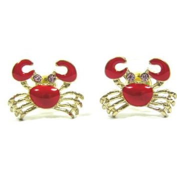 Red Crab Stud Earrings EA26 Ocean Lobster Cancer Zodiac Pave Crystal Sea Posts Fashion Jewelry