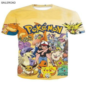 Plus Size Europen And American Style  Print Men T Shirt Hipster Cosplay Cool Tees Tops Hombre Teenagers 3D Funny T ShirtKawaii Pokemon go  AT_89_9