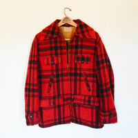 40s 50s vintage the Maine Guide flannel jacket / hunting coat / warm winter fall plaid / red and black mens vintage