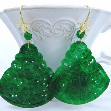 Carved green jade earrings, burma jade jewelry, sterling silver 925 gold plated 18 K,  italian gemstone jewellery, Sofia's Bijoux