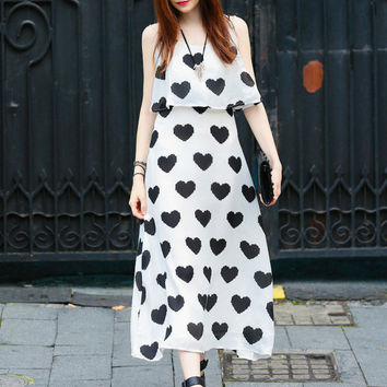 White Heart Print Strappy A-line Chiffon Maxi Dress