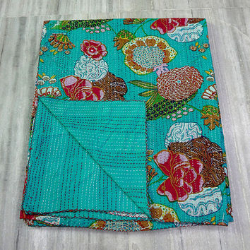 Indian Handmade Kantha Quilt, Floral Vintage Quilt Bedspread Blanket, Cotton Blanket Coverlet, Green Tropical Quilt,ALL size are available