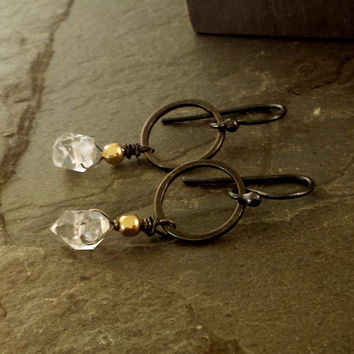 Small Black Gold Clear Gemstone Hoop Earrings with Herkimer Diamonds