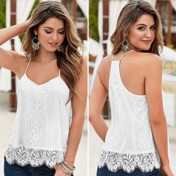 White Lace Patchwork Tank Top B0015257