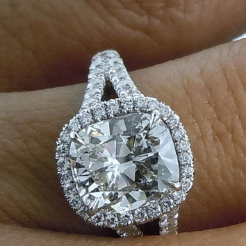 Engagement Ring 5.15ct Cushion cut Diamond Engagement  certified 18kt White Gold BLUERIVER47 on Etsy Fine Jewelry