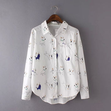 Stylish Summer Cartoons Dogs Print With Pocket Shirt Blouse [6267946502]