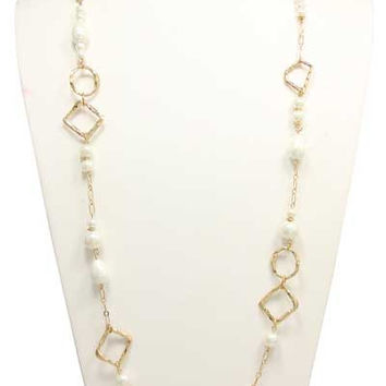 LONG PEARL LINKED CHAIN NECKLACE WITH EARRING SET