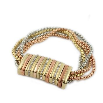 European and American jewelry multi-color multi-layer bracelet fashion metal chain trend flash drill bracelet wild magnet buckle wear IT